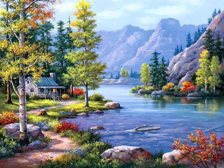 The picture shows a very beautiful landscape with a small house on the edge of a river