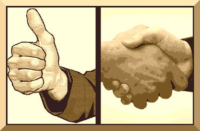 A imagem mostra um aperto de mãos, simbolizando parceria, aceitação, aprovação, satisfação